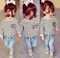 XT-206 2015 outono conjuntos de roupas meninas moda longa-sleeved T-shirt listrada + calça jeans roupas de menina denim calças 2 pçs/set varejo