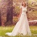 2017 Lace Tulle Botões Voltar Boho Bohemian Vestidos de Casamento da Luva do Tampão Do Pescoço Da Colher A Linha de Vestidos de Noiva Vestido De Noiva WA176