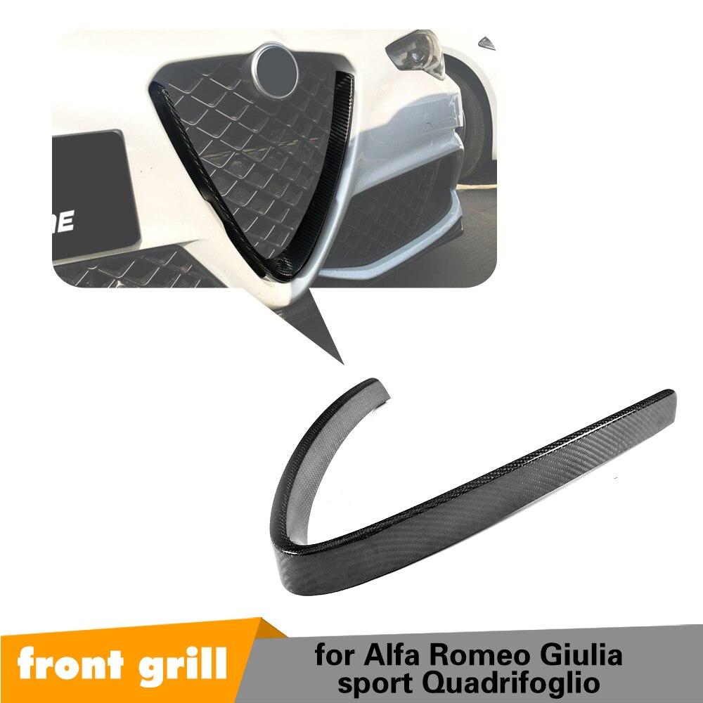 Seco de fibra de carbono grade dianteira malha quadro capa para alfa romeo giulia base esporte quadrifoglio sedan 4 portas 2016-2018 estilo do carro
