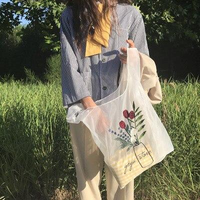 NEW Hot Sale Hologram Transparent Plastic Handbags beach embroidery Shoulder bag Women Trend Tote Jelly Fashion PVC Clear Bag