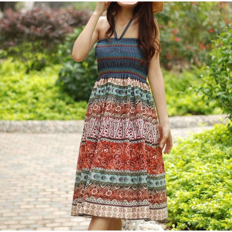 HTB1PsoeSOLaK1RjSZFxq6ymPFXa2 - Boho Floral A-line Women's Maxi Skirt Elastic High Waist Sashes Vintage Pleated Womens Skirts Summer Fashion Clothes Female