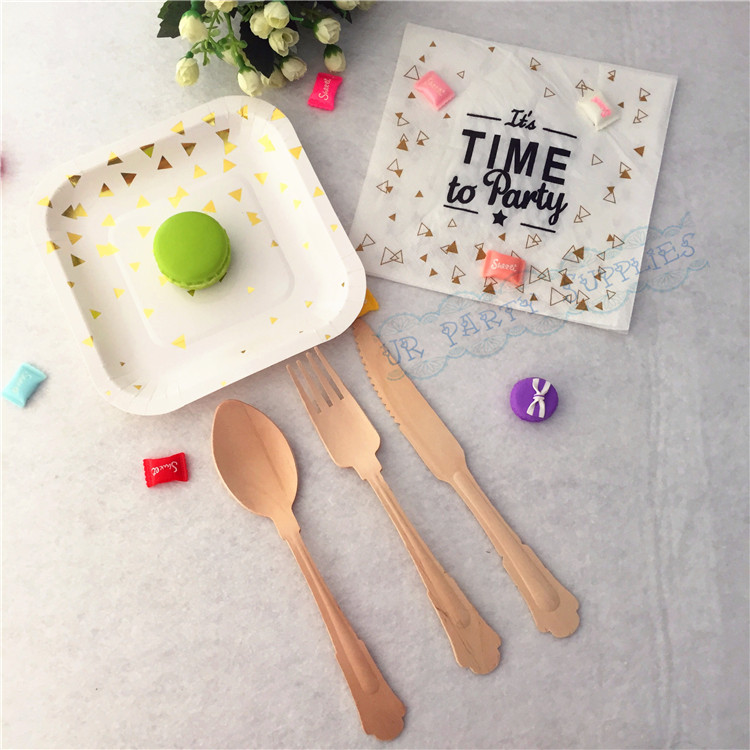 Free Shipping 16sets Gold Foil Disposable Tableware Party Paper Plates Paper Napkin Wood ...