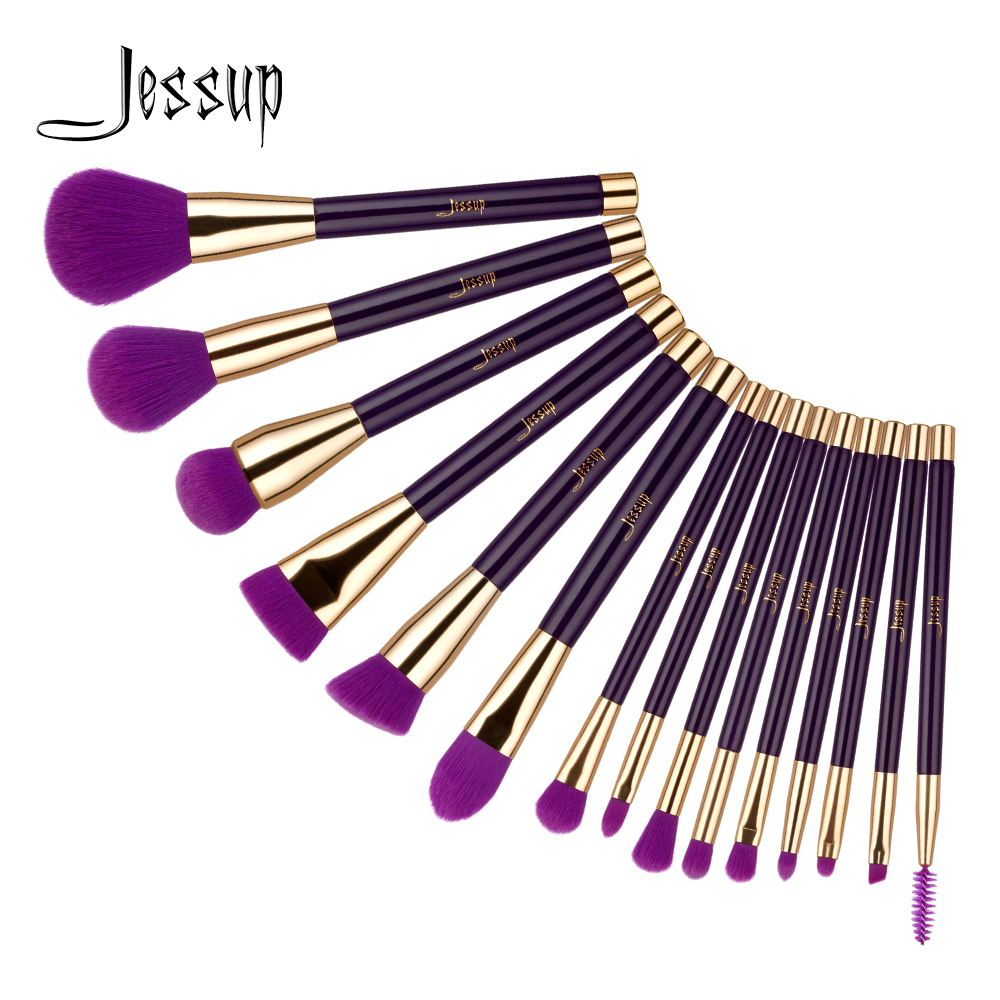 Jessup 15pcs Purple / Darkvaolet брошюры макияж макияжы Көз бояуы опасы Лайнер контур макияж щеткалары T114