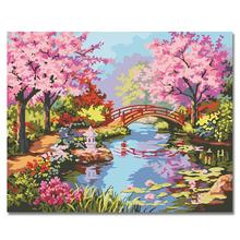 WEEN Pink flowers-Paint by Number Kit for Adults Kids Beginner, DIY Canvas Painting Numbers,Home Wall Art Picture 40X50cm