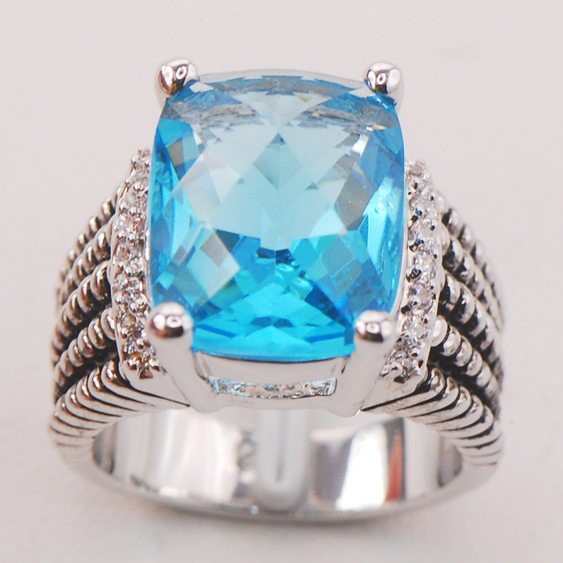 Simulated Aquamarine Women 925 Sterling Silver Ring F782 Size 6 7 8 9 10