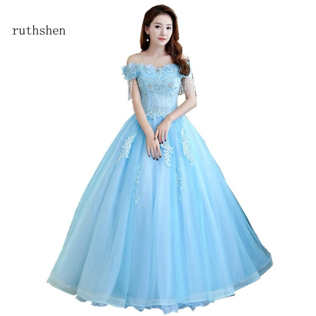 ruthshen Stunning Off The Shoulder Beadings Quinceanera Dresses Blue Boat  Neck With Appliques Sweet 15 Girls Ball Gowns 2018 New 38313e41fdfa