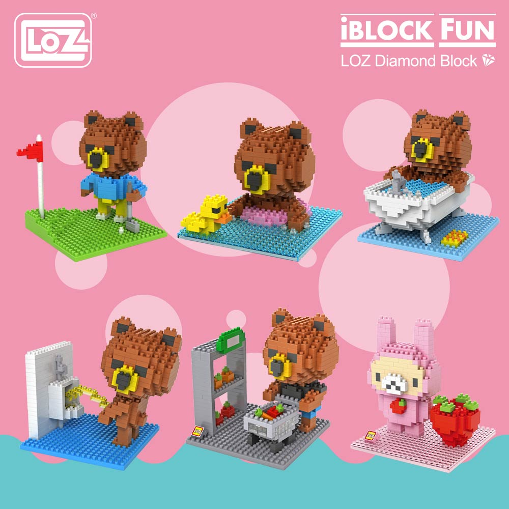 LOZ Diamond Blocks Cartoon Bears Action Figures Cute Building Plastic Assembly Toys Micro Brick Nano Educational DIY 9427-9436 lno big size super mario bros model action figures nano block micro diamond plastic building blocks diy bricks toys without box
