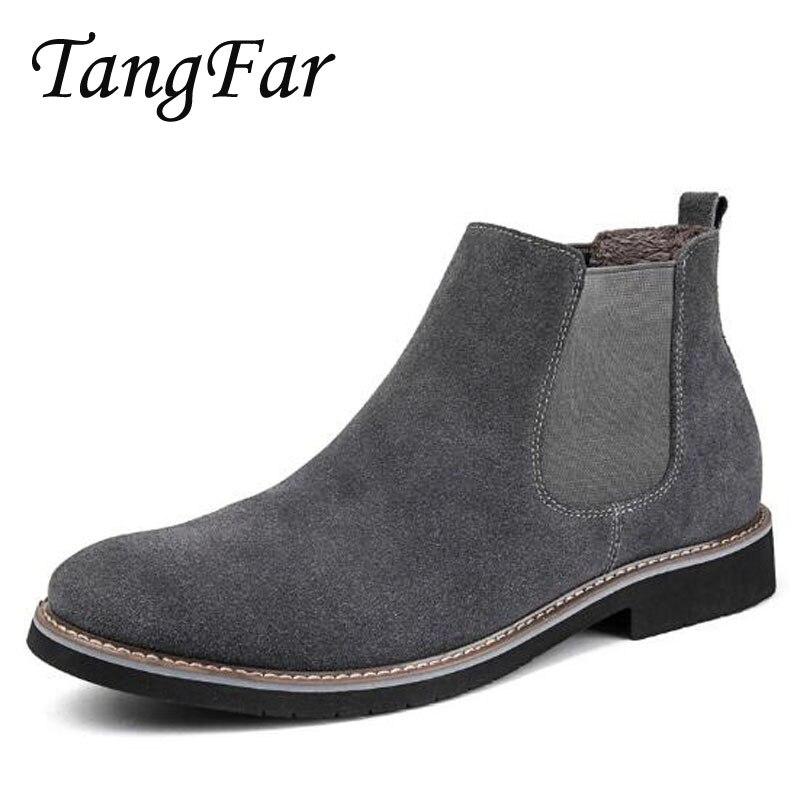 Men Winter Chelsea font b Boots b font Luxury Brand Mens Leather Combat font b Boot