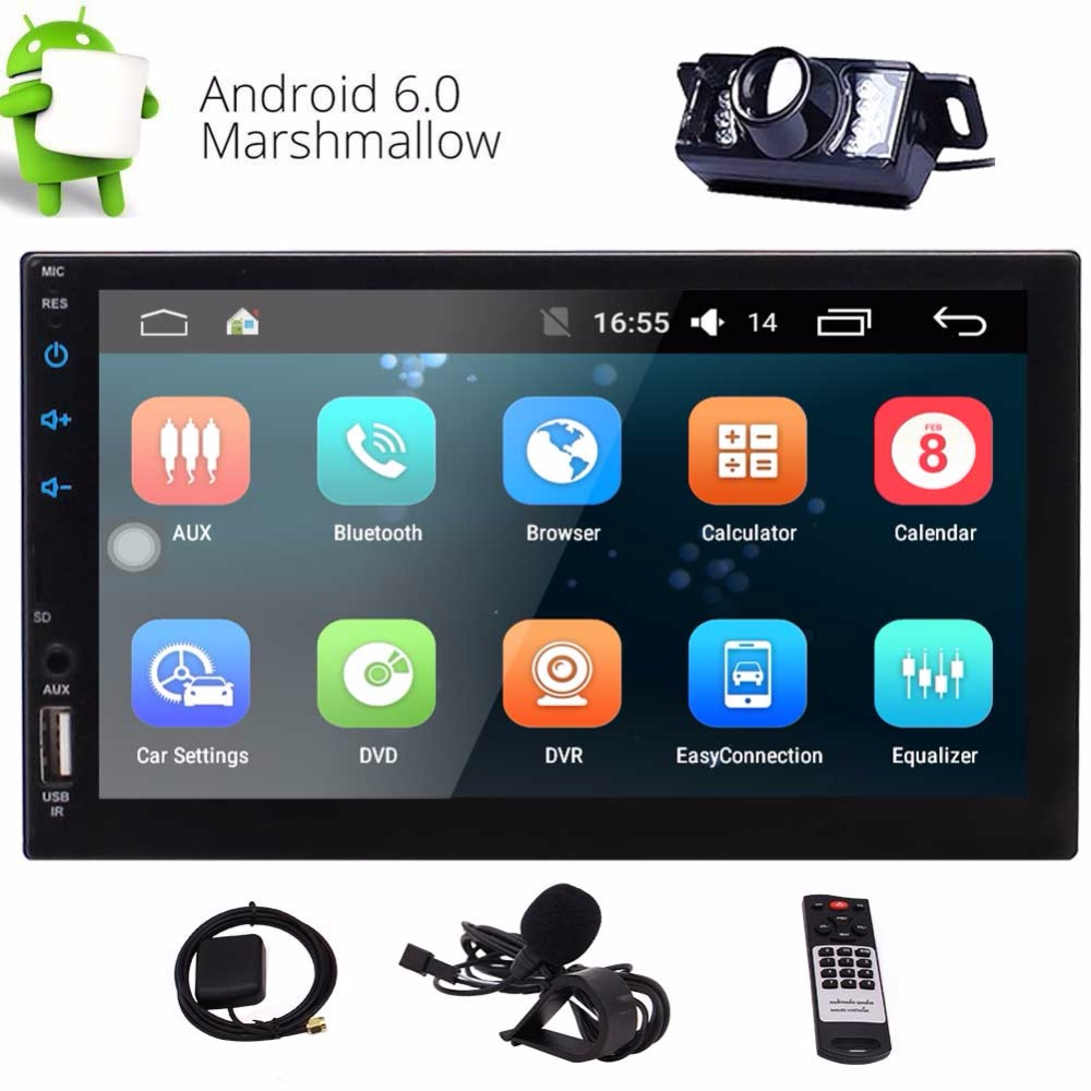 2-DIN Car Stereo 7 Touch Screen Built-in HD Radio, Autoradio 2 Din Android Carplay Head Unit Support GPS Navigation FM/AM Radio