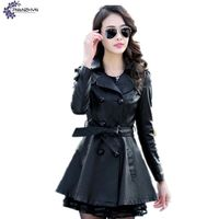 TNLNZHYN Women Clothing PU Leather Coat Winter Fashion Long Sleeve Big Size Fat MM Leisure Keep