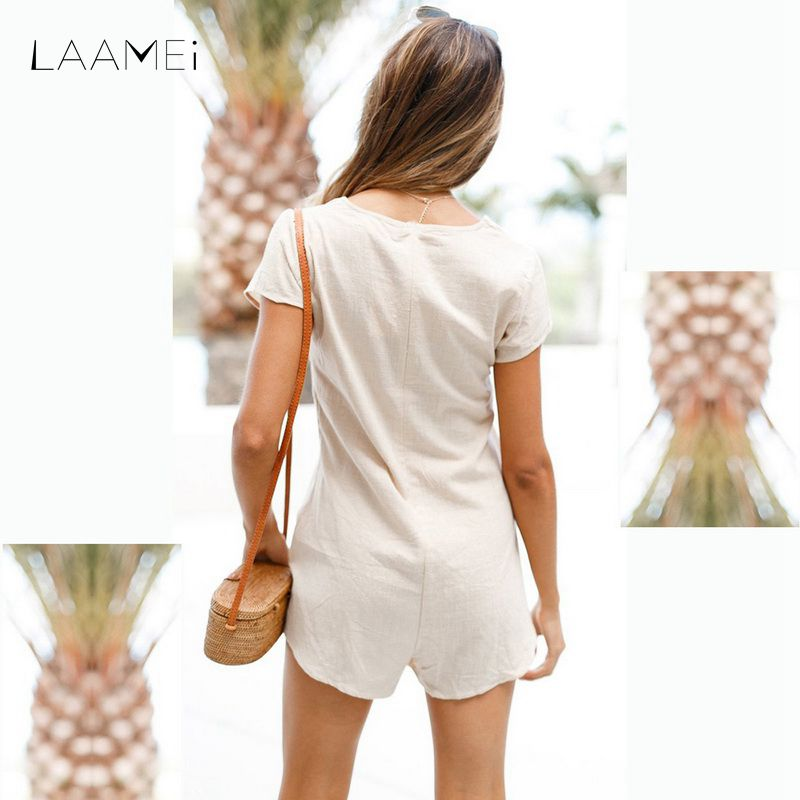 Laamei Feminino 2018 Solid Women New Summer Beach Shorts Rompers Jumpsuits Fashion Causal O Neck Short Sleeves Botton Playsuits ...