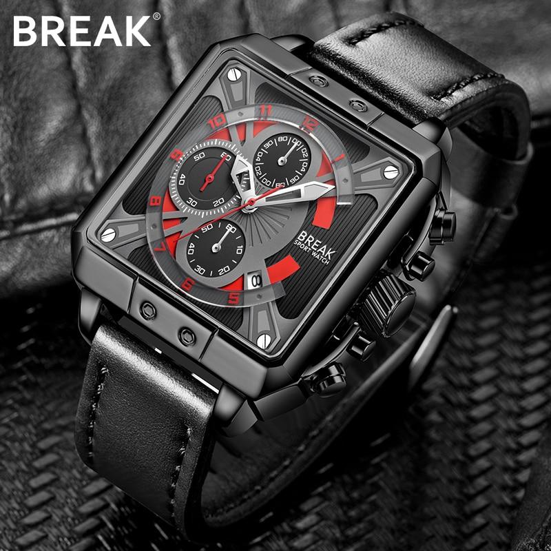 BREAK Quartz Men Sport Watch Big Dials Square Army Military Male Watches Man Clock Men Chronograph Wristwatch Relogio Masculino