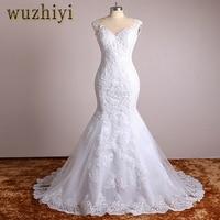 WuzhiyiReal Photo Lace Appliques Mermaid Vintage Wedding Dresses Plus Size China Bridal Gown Wedding Dress Vestidos