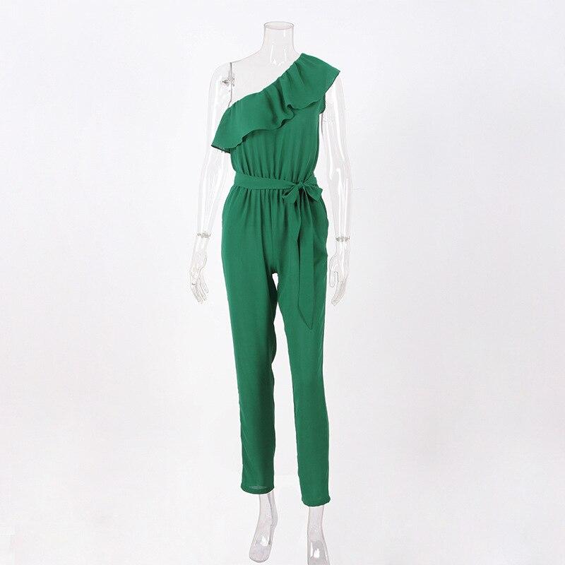 rompers womens jumpsuit summer 2018 overalls plus size jumpsuits streetwear off shoulder ruffle chiffon jumpsuits pants DC17608 3