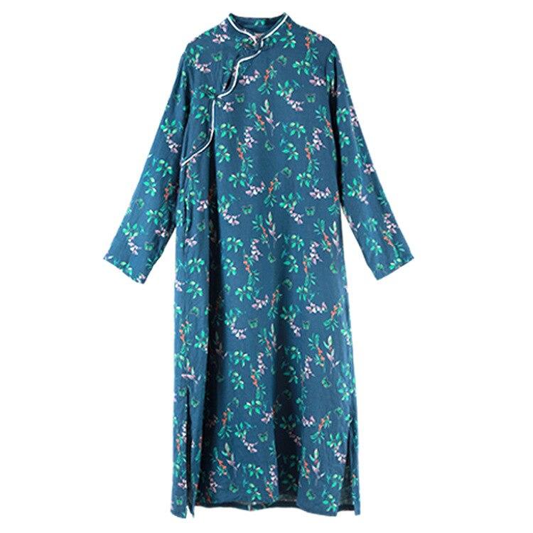 Femmes Robes Col Lin Ethniques Style Automne Petit Printemps Montant Robe Nouvelle En De Bleu Floral Longues Coton Manches À qPwSfZ5