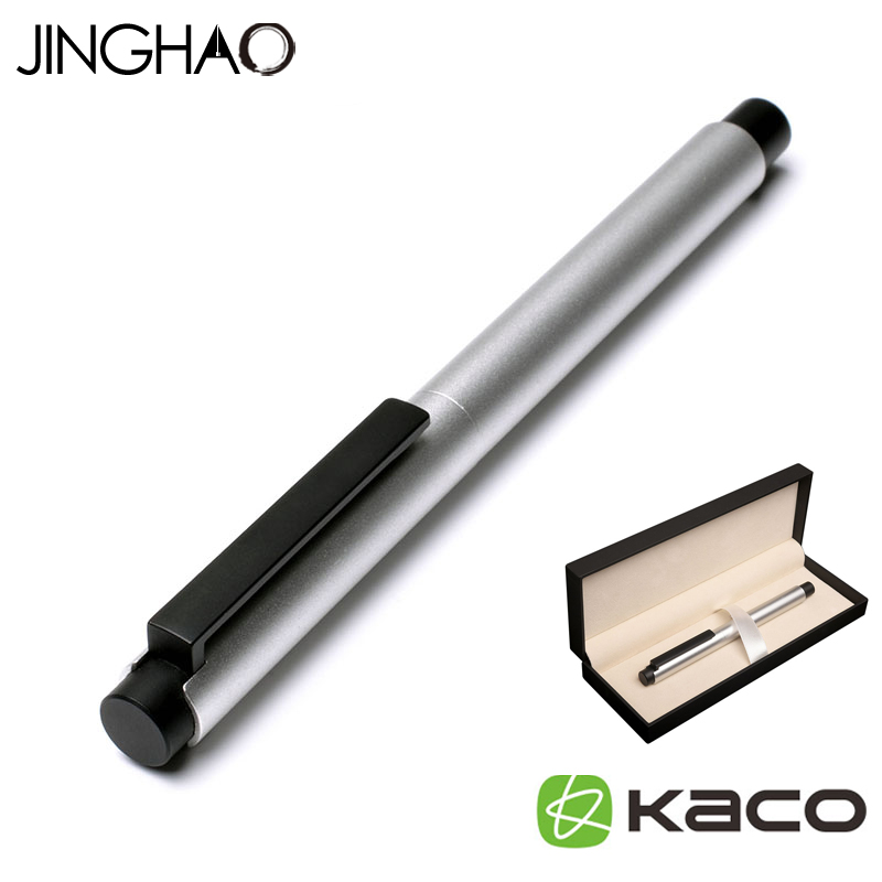 Jinghao KACO EXACT Series Noble Matte Silver Rollerball Pen with Black Clip 0.5mm Metal Ballpoint Pens with Original Gift Case jinghao kaco exact fountain pen series luxury matte silver and black clip metal ink pens for office 0 5mm f nib gift pen case