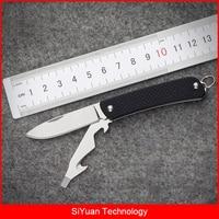 Sanrenmu EDC Multi Functional Pocket Knife With Bottle Opener Belt Cutter For Travel Camping Emergency Survival