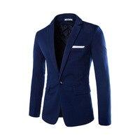 Blazer Men 2017 Brand New Single Button Knitting Men Blazer Suit Jacket Casual Slim Fit Cotton