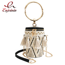 Trendy Straw Pu Leather Fringe Round Cylinders ladies Casual Tote Handbag Crossbody Mini Messenger Bag Bolsa For Women Pouch(China)