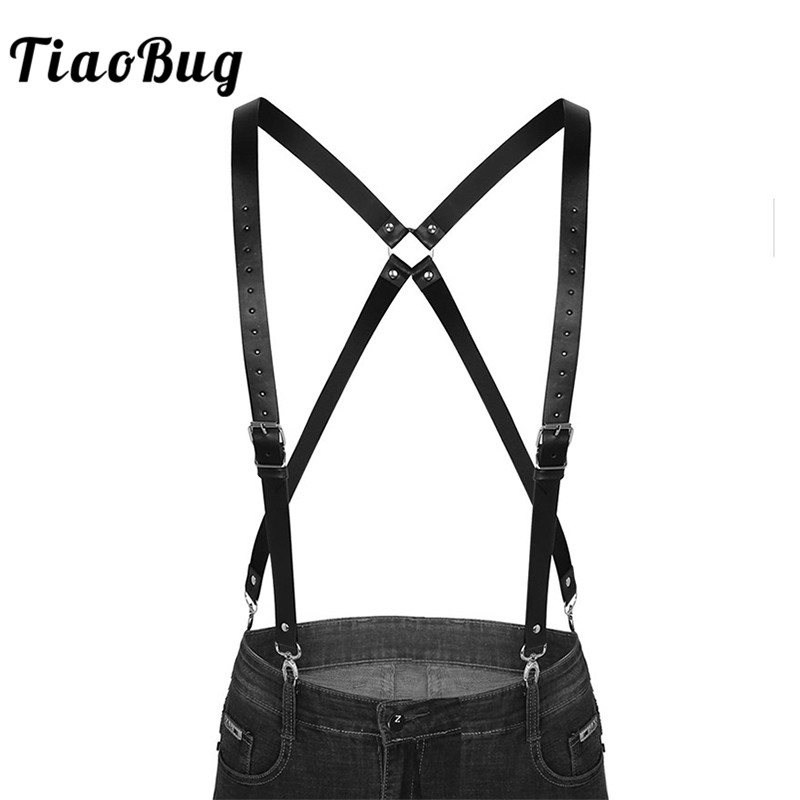 TiaoBug Black Imitation Leather Double Shoulders Braces Straps Men Adjustable Suspender Men's Harness Belt With Buckles Clasps