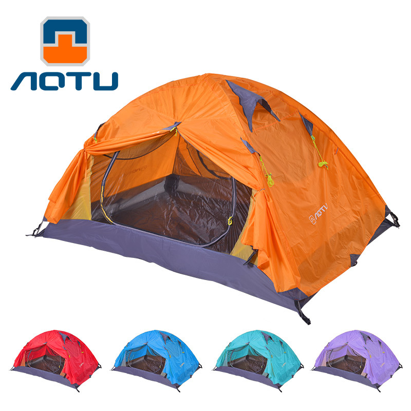 AOTU Tent 2 Person 210T PU 4000 waterproof Fabric Double Layers Rainproof Camping Tent Outdoor Tent 4 Season 435 charm it подвеска на браслет радуга