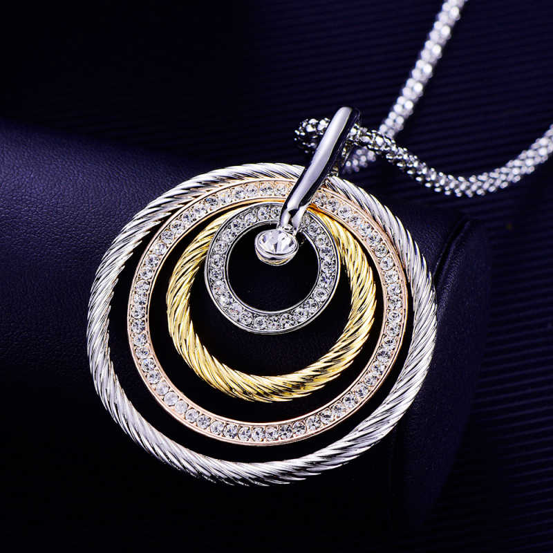 Fashion Design 4 Circles Big Pendant Necklace For Women Rhinestone Gold Silver Color Popcorn Chain Long Necklaces Luxury Jewelry Long Necklace Designer Necklacefashion Necklace Aliexpress