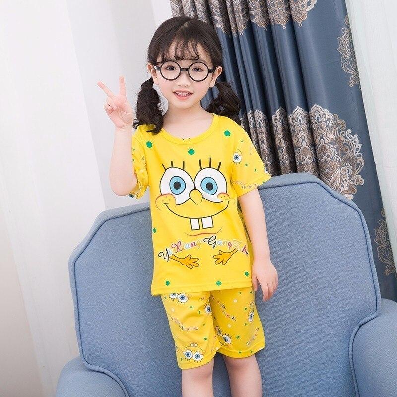 цена на Wholesale 2018 RN-9Children pajamas suit children's clothing girls cartoon casual short-sleeved shorts boys pajamas home service