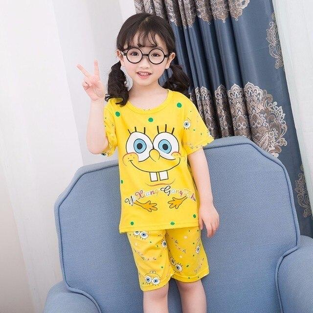 Wholesale 2018 RN-9Children pajamas suit children's clothing girls cartoon casual short-sleeved shorts boys pajamas home service