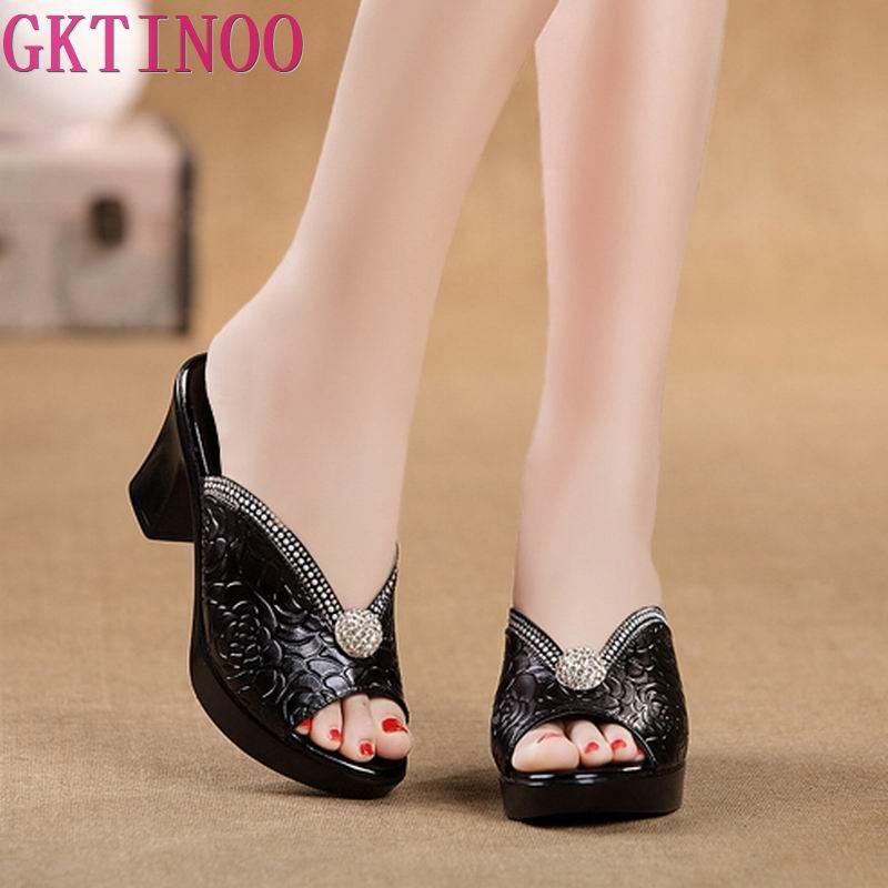 Женские сандалии со стразами; Удобные женские повседневные туфли из кожи geuine на толстом каблуке; Летние сандалии на платформе|women sandals|platform sandalsshoes summer | АлиЭкспресс