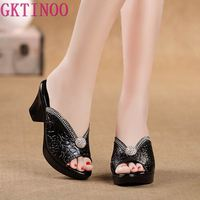 Rhinestone Women sandals comfortable geuine leather thick heels women's casual shoes summer platform sandal