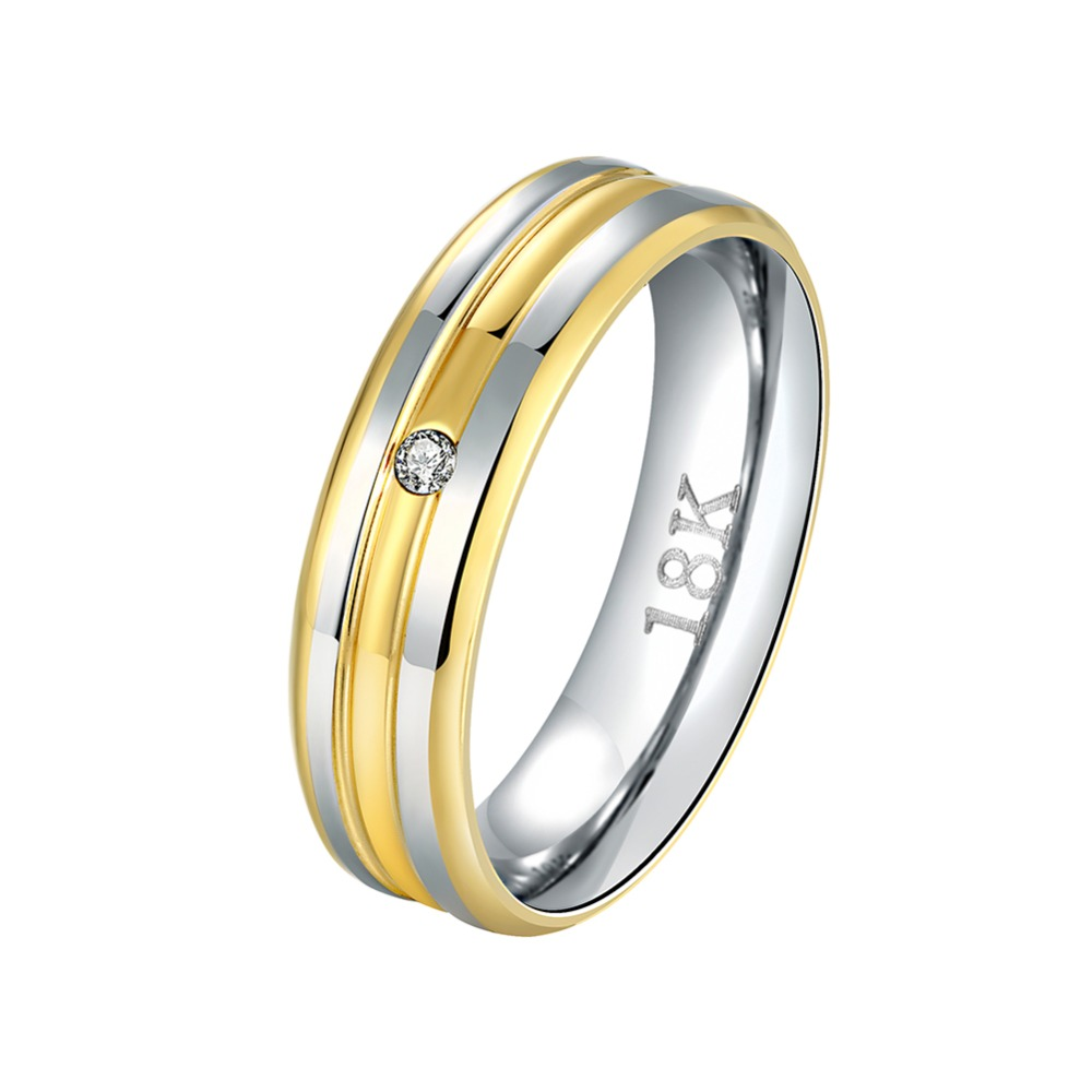 Hot Fashion Metal Jewelry Gold Color Silver Color Inlaid Zircon Mens Rings Wedding Anniv ...