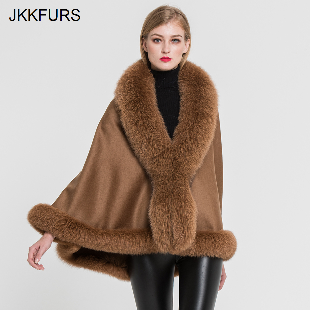 JKKFURS Women s Real Fur Poncho Genuine Fox Fur Collar Trim Wool Cashmere Cape Fashion Style
