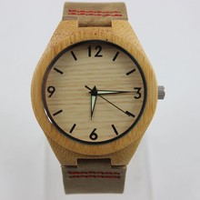 Fashion 2015 Men's Bamboo Wooden Watches With Genuine Cowhide Leather Band Luxury Wood Watches for Men Best Gifts Item