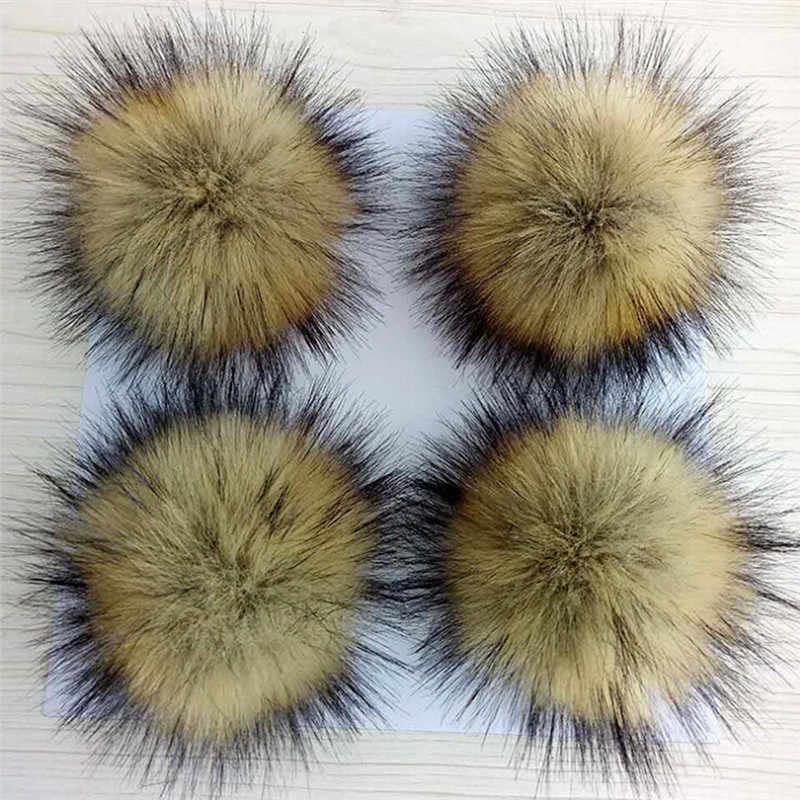 1 PC Lembut Pompon Hat Tombol Jahit Aksesoris Faux Raccoon Bulu Palsu Rambut Bola Besar Bola 10 Cm Pakaian Dekorasi