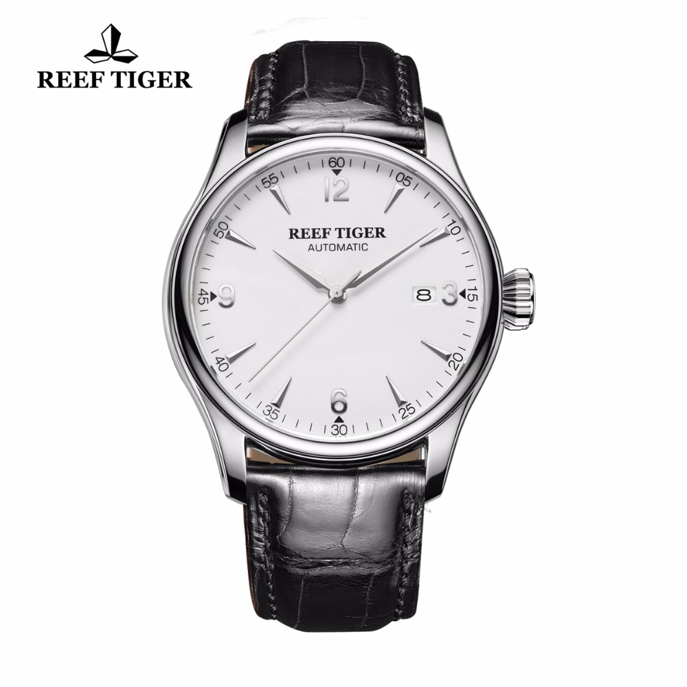 Reef Tiger/RT Business Mechanical Watches Sapphire Crystal 316L Steel Genuine Leather Strap Watch Leather Band RGA823GReef Tiger/RT Business Mechanical Watches Sapphire Crystal 316L Steel Genuine Leather Strap Watch Leather Band RGA823G