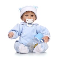 42cm 16 Soft Silicone Reborn baby doll Toys newborn pacifier+bottle cute doll realistic Handmade gifts dolls collection