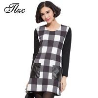 TLZC Plaid Pattern Women Fashion Dress Plus Size L-5XL Super Quality Cute Style O-Neck Collar Design Lady Cotton Slim Dresses