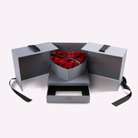 Classical Soap Flower Gift Box Originality Door opening style Heart shaped flower Valentine's Day gifts Advanced Grey