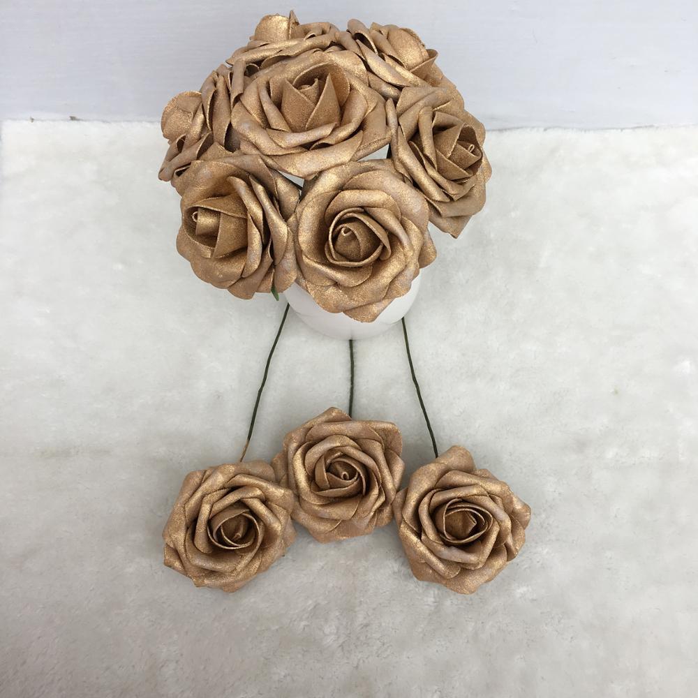 Fleurs en or fausse mousse Roses fausses fleurs artificielles pour mariage nuptiale Bouquet or pièce maîtresse de mariage en gros 100 fleurs