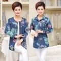Большой Размер Женщин Среднего Возраста Пальто Весна Лето Новый Бренд Печатных Джинсовой Пальто Высокого Качества Женщин Джинсовые Пальто Q704