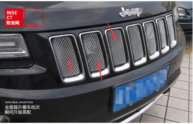 New For Jeep Grand Cherokee 2011 2012 2013 Front 3D Mesh Racing Grilles Insert Prevent Bug Dirt Grill цена