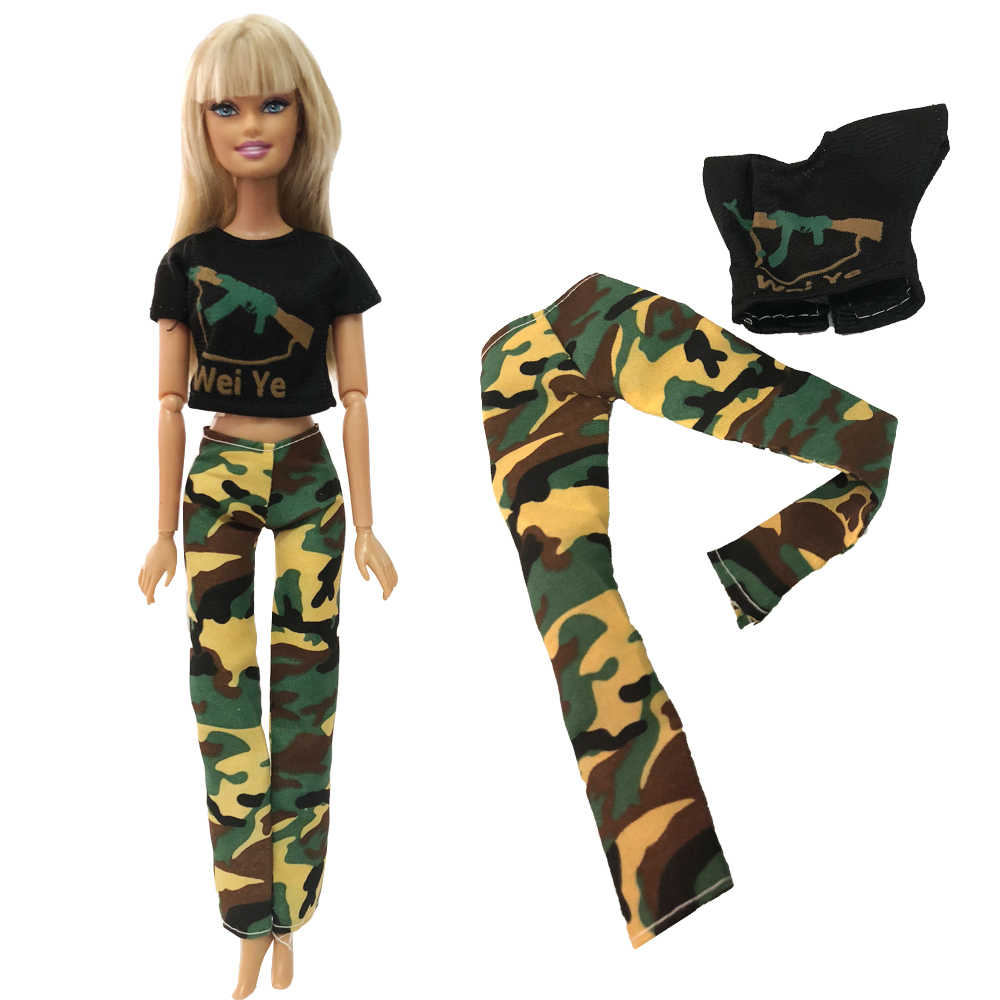 NK One Set Doll Dress Top Camouflage Imitation CS Military Dress Dress Clothes For Barbie Doll Accessories Gift Toys 270A 5X