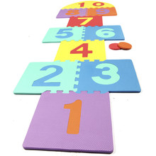 Numbers Hopscotch EVA Foam Fun Baby Toys Children Puzzle Play Mat Interlocking Jumping Game Exercise Gym Tile Floor Pad for Kids(China)