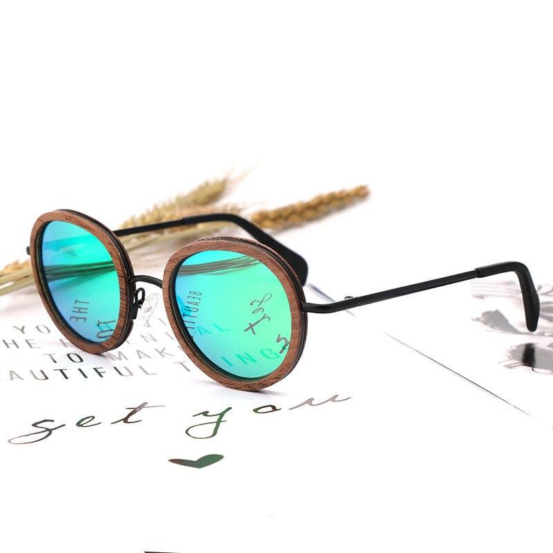 Lunettes de soleil rondes en bois hommes femmes conception de marque mode ultralégère soleil verre polarisé lentille UV400