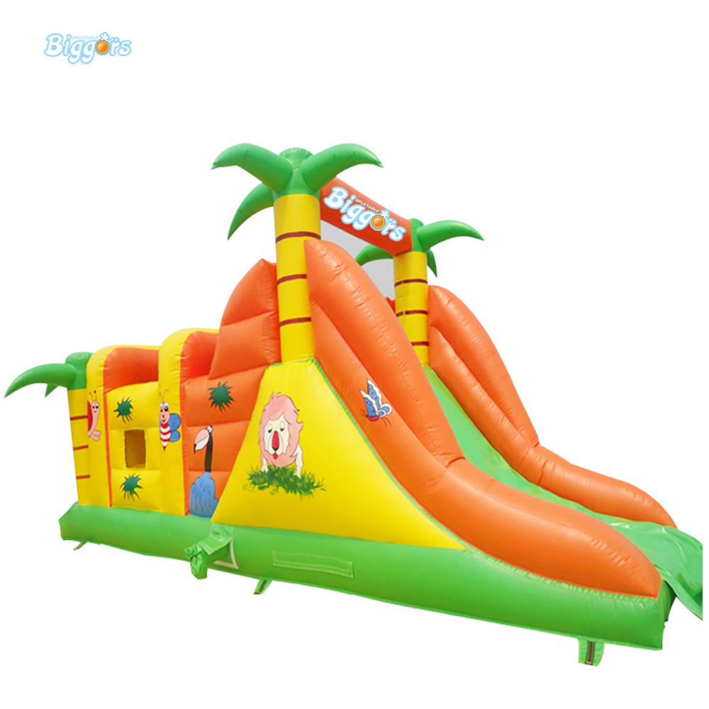 цена на Inflatable Biggors Palm Tree Outdoor Sports Games Jumping Bouncy Castle Inflatable Obstacle Course