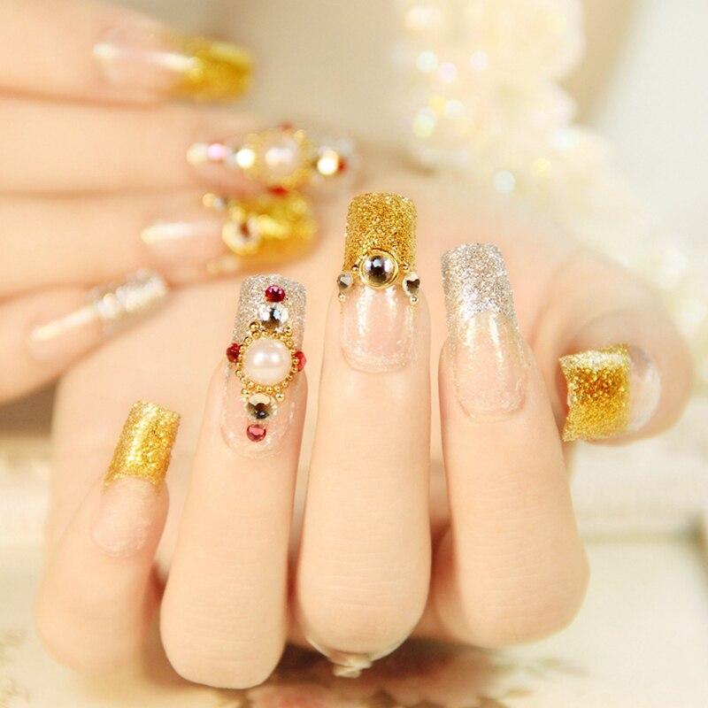 Flat Long False Nails Gold Silver Glitter French Nails 24pcs Pearl ...
