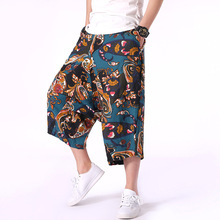 Asian Style National Hand Paint Harem Pants Men Calf Length Loose 5XL Casual Hip Hop Mens Trousers Streetwear Muti Color