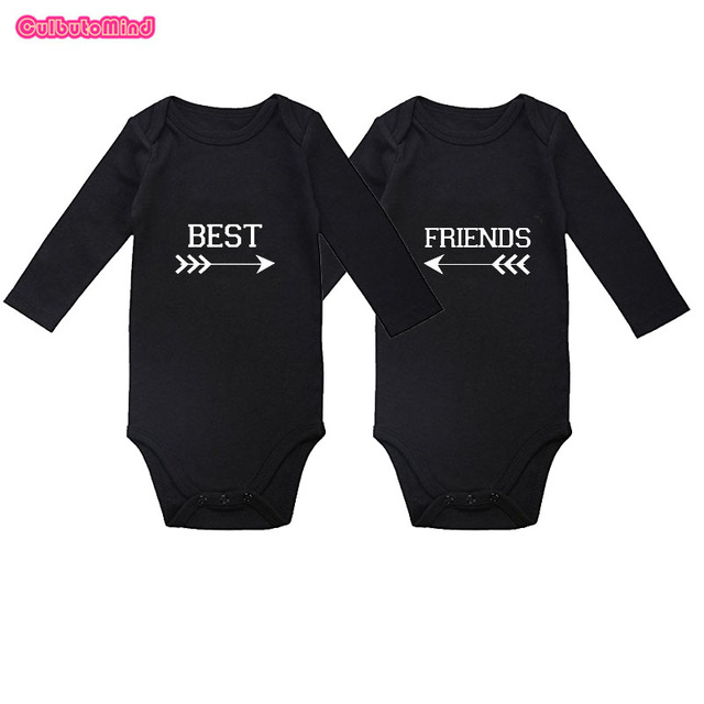 55e1d81fc Cutbutomind Set of 2 Twin Best Friend Outfit Boy Jumpsuit for Twin Boys  Girls NB-12Months Baby Twins Gift Set Spring Autumn