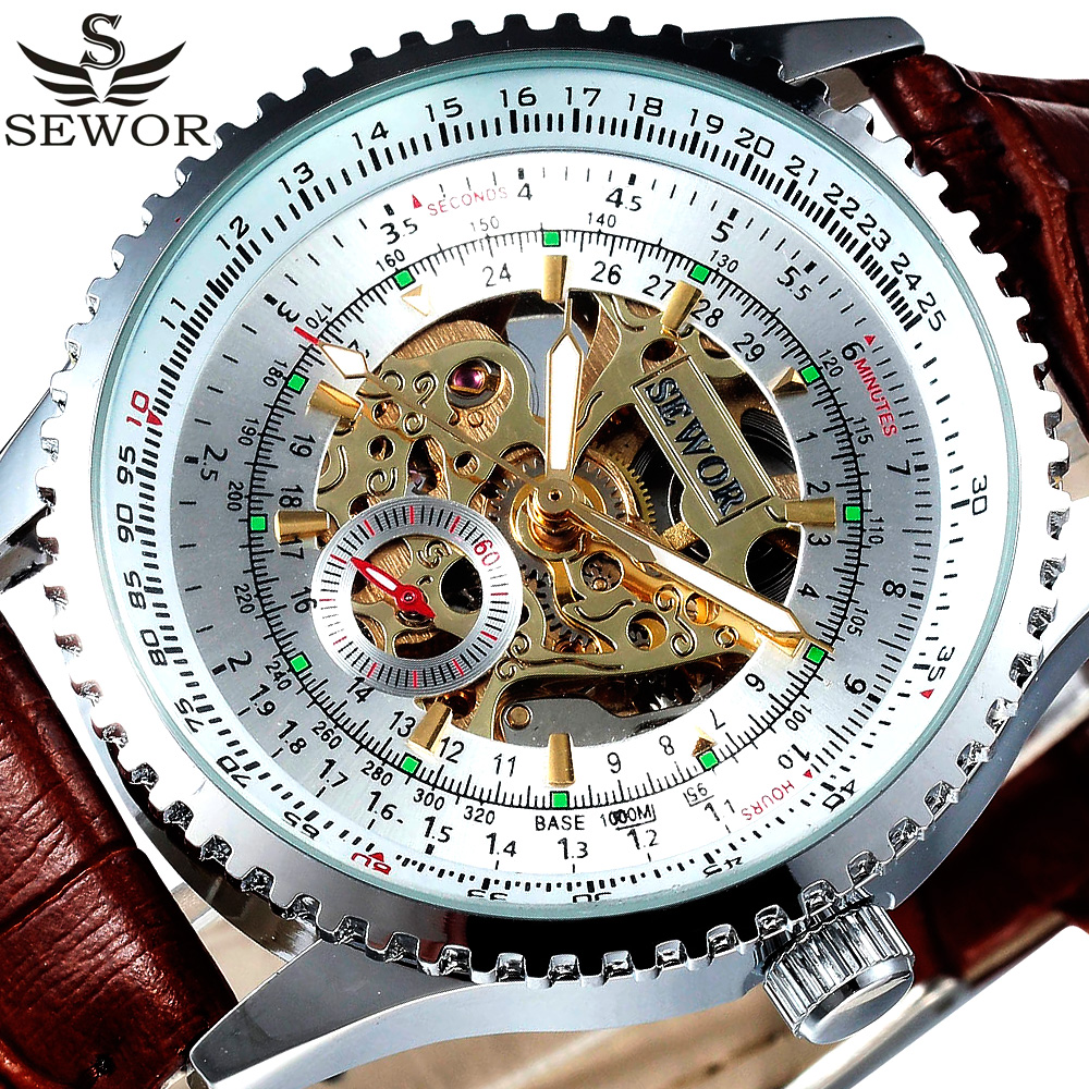 SEWOR Retro Skeleton Automatic Mechanical Watch Men Vintage Leather Strap Male Clock Business Wristwatch Relogio Masculino sewor sw031 mechanical male watch page 6