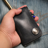 New Men Genuine Leather Car Key Wallets Fashion Women Housekeeper Card Key Holders Covers Zipper Key Case Bag Pouch Purse 502